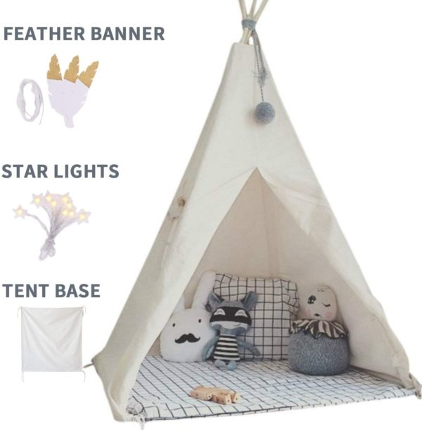 #2. Little Dove Teepee for Kids with Pockets