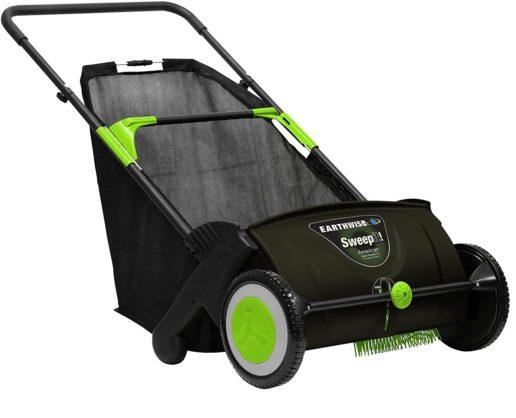 3. Earthwise Black Leaf & Grass Push Lawn Sweeper