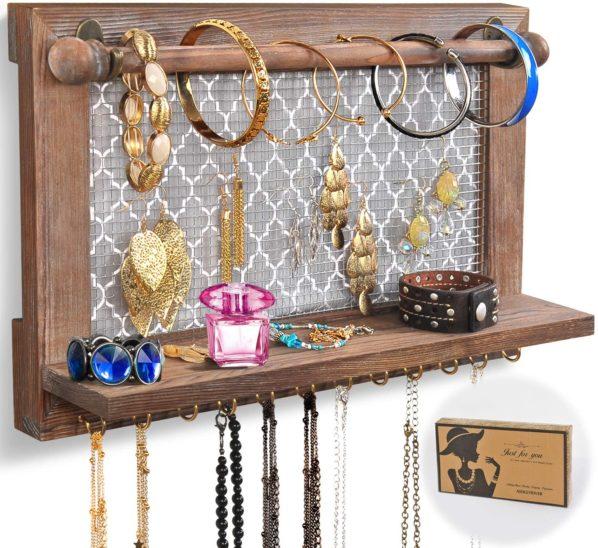 #4. ASHLEYRIVER Wood Wall Jewelry Organizer