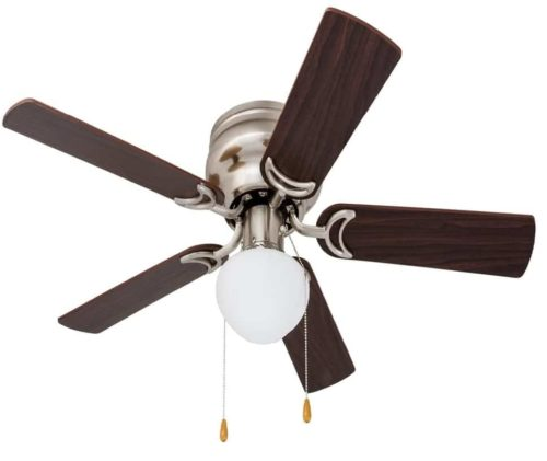 4. Prominence Home Alvina Led Globe Ceiling Fan Low Profile