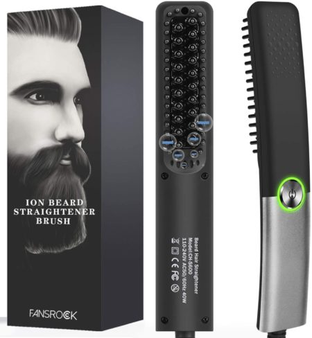 #8. Fansrocck Beard Negative Ions Straightening Brush