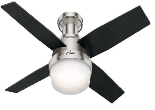 8. Hunter Fan Company Dempsey Indoor Low Profile Ceiling Fan With LED Light and Remote Control