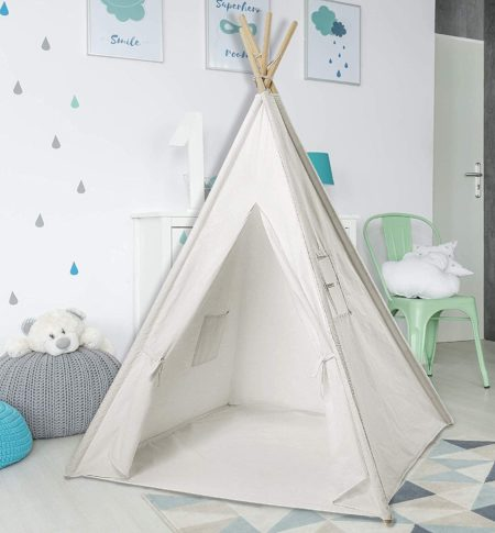 #9. PEP STEP White Teepee for Kids Indoor and Outdoor
