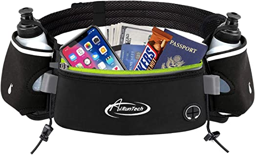 AiRunTech Running Belt with Water Bottle Holder No Bounce Hydration Belts for Runners