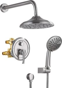HIMK Shower Faucet Set System with Brushed Nickel Finish