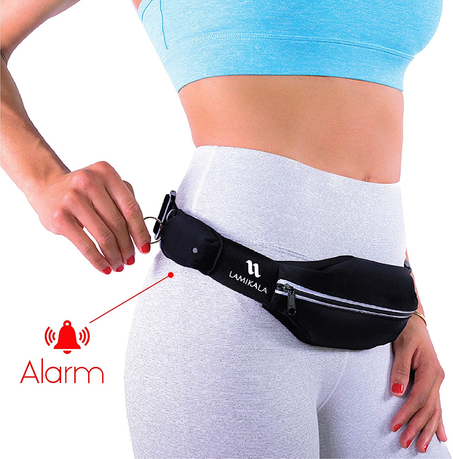 Lamikala Running Belt Fanny Pack with Personal Alarm, Slim Waist Pack Pouch for Runners Safety