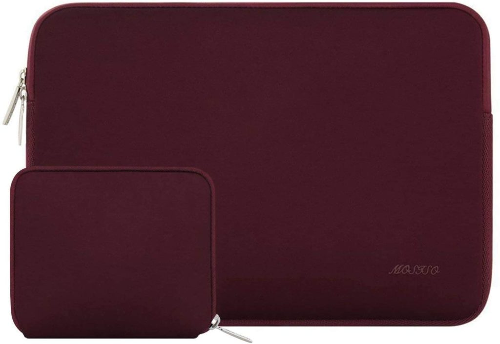 MOSISO Laptop Sleeve Compatible with 13-13.3 inch MacBook Pro, MacBook Air, Notebook Computer, Water Repellent Neoprene Bag with Small Case, Wine Red