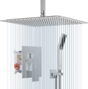 """SR Sun Rise 12"""" Shower Faucet Set System with Bracket Holder"""