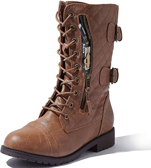 #1. DailyShoes Vegan Leather Combat Boots