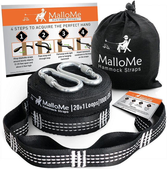 #1. MalloMe hammock tree straps with carabineers
