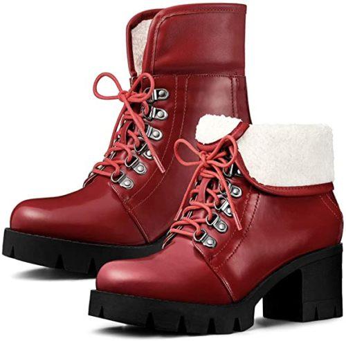 #10. Allegra K Folded Down Combat Boots