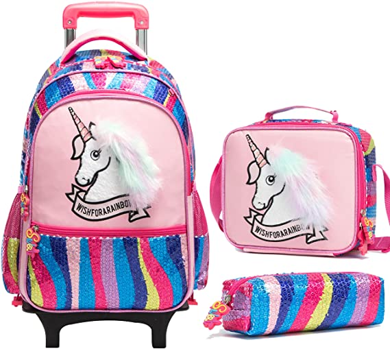 #10. Meetbelify Rolling Backpacks for Kids Set