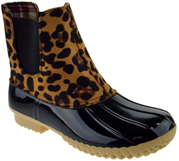 #10. Two Tone Pull On Rain Women Duck Boots