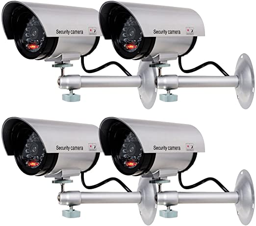 #2. WALI Bullet Dummy Fake Surveillance Dome Camera (4 Pack)