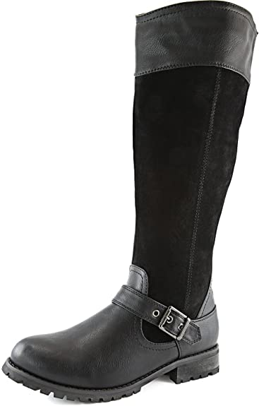 #3. DailyShoes Mid-calf Combat Boots
