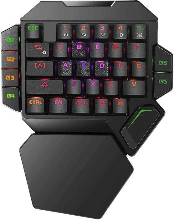 #5. Cakce back-lit one handed gaming keyboard