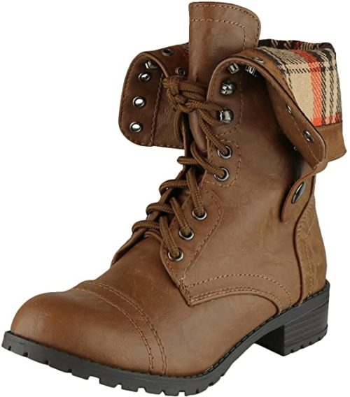 #6. Cambridge Select Folded Down Combat Boots