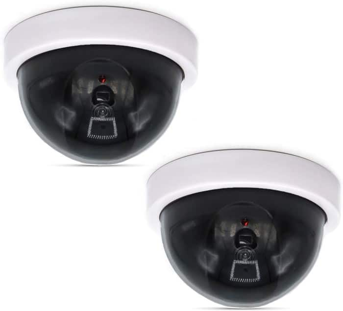 #6. WALI Dummy CCTV Dome Fake Security Camera (2 Packs)