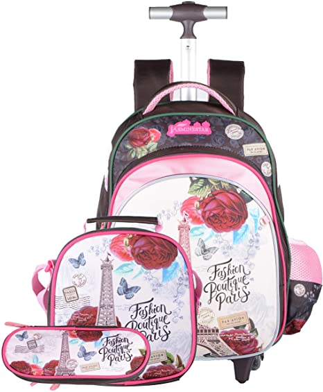 #7. Meetbelify Quiet Rolling Backpacks for kids 3 Pieces