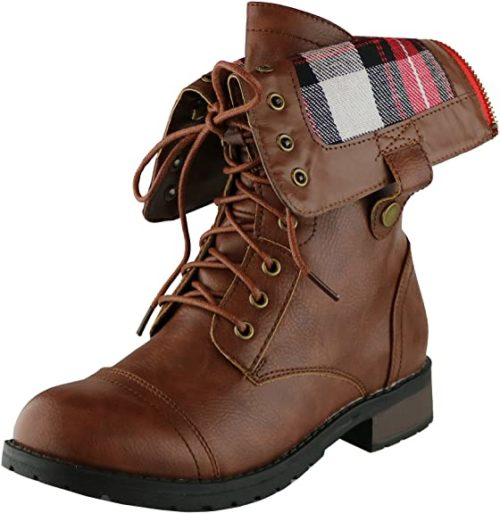 #9. Cambridge Select Folded Down Combat Boots