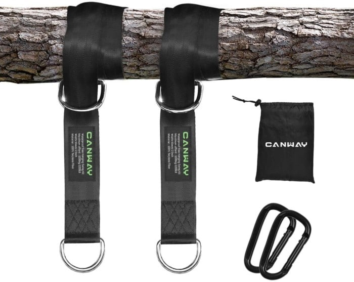 #9. CANWAY water-resistant hammock tree straps