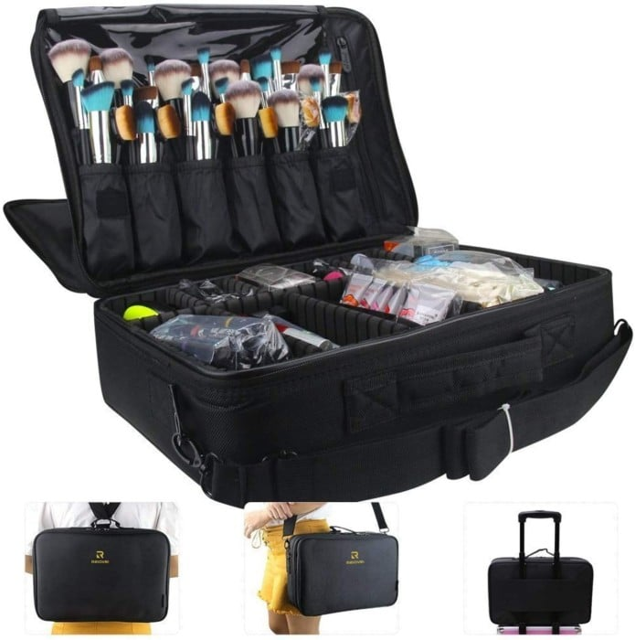 #9. MONSTINA Makeup Train Case with Dividers