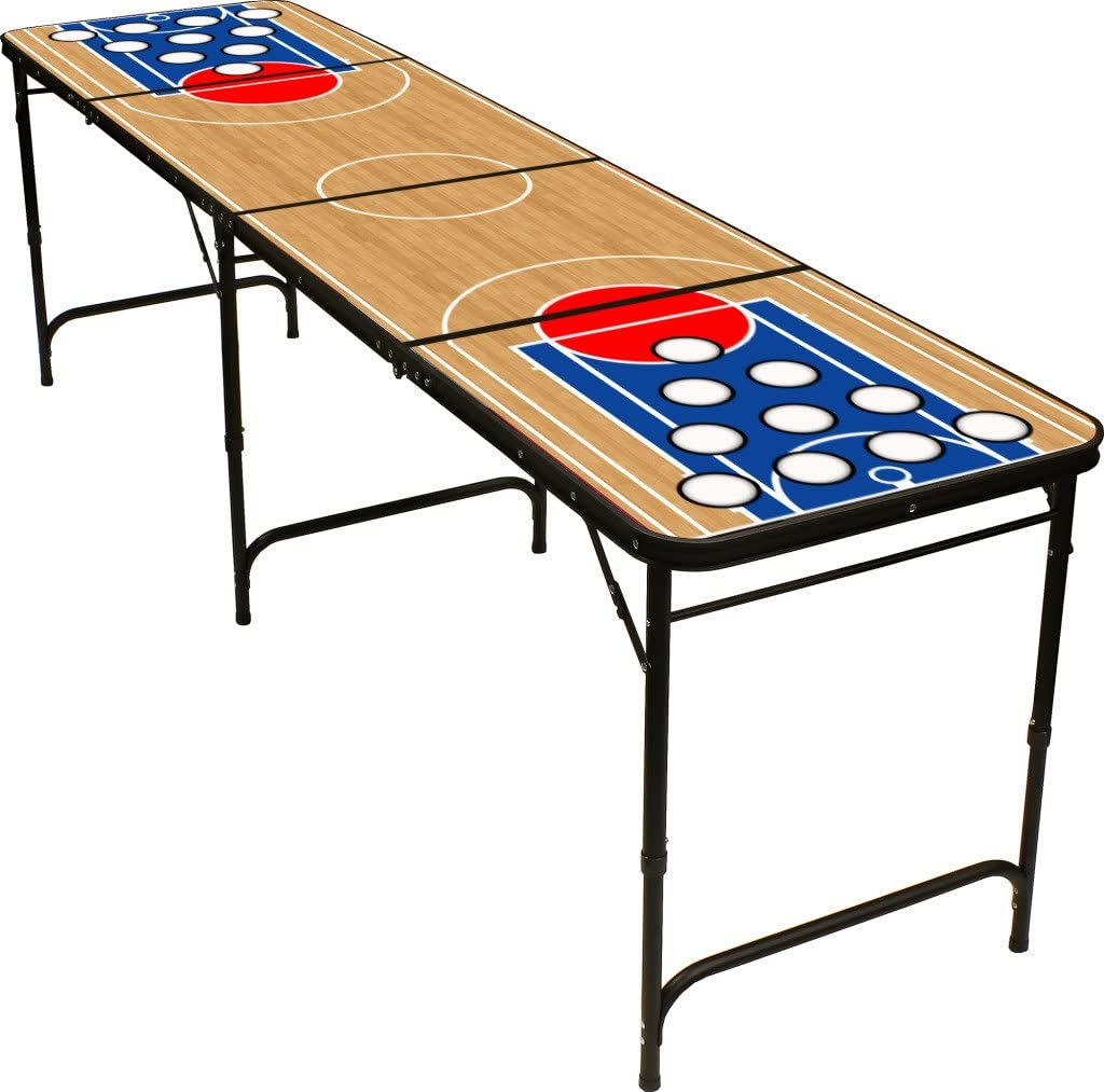Folding Beer Pong Table with Bottle Opener, Ball Rack and 6 Pong Balls - Basketball Design - By Red Cup Pong