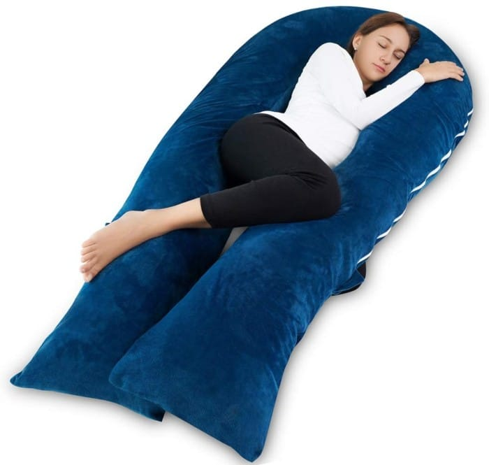 Full Body Pregnancy Pillow and Maternity Pillow for Sleeping with Velvet Cover