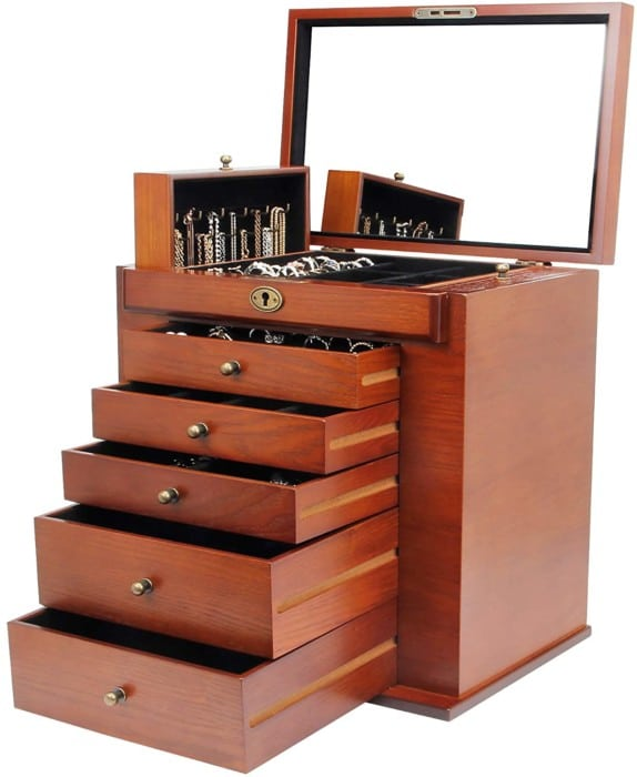 Homde Large Wooden Jewelry Boxes
