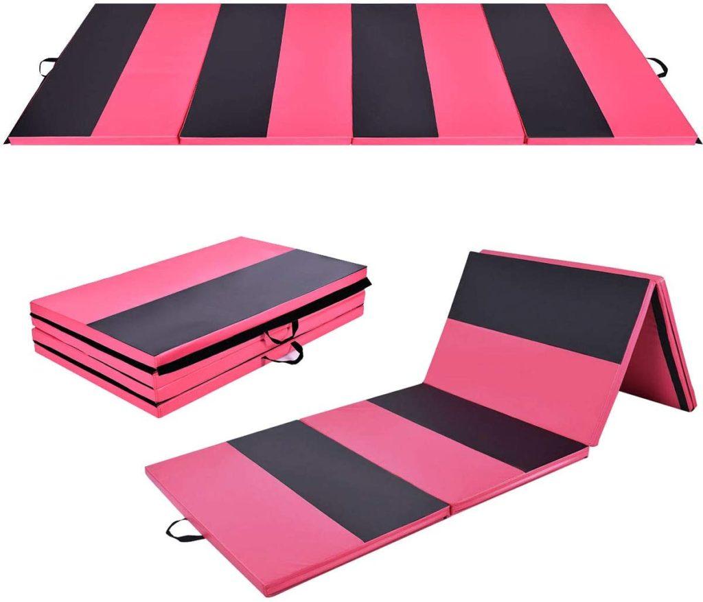 Thick Gymnastics Mat, High Density Anti-Tear Folding Gymnastics Exercise Mats w/ Carrying Handles, Hook and Loop Fastener, Lightweight Gymnastics Panel Mat, Tumbling Mat