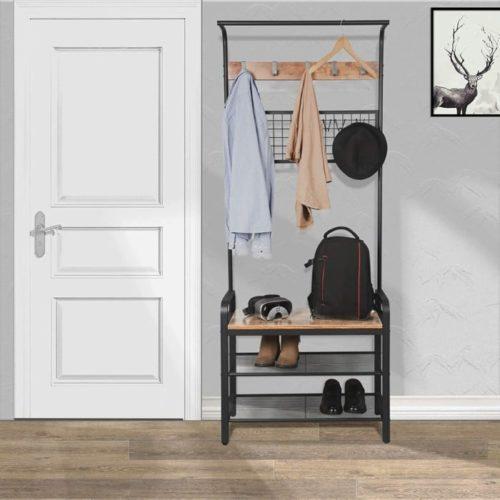 1. BEEWOOT Hall Tree Coat Rack with Shelf
