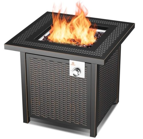 10. OT QOMOTOP Propane Square Fire Pit Table with Adjustable Flame