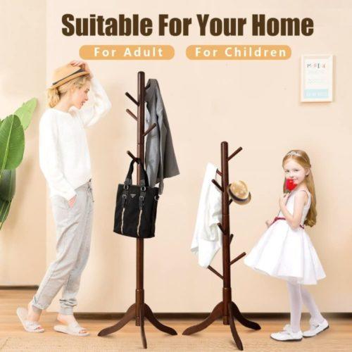 10. Vlush Rubber Wooden Coat Rack
