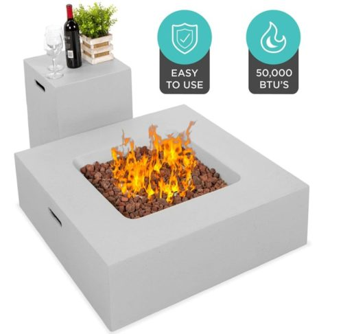 11. Best Choice Products Outdoor Square Fire Pit Table