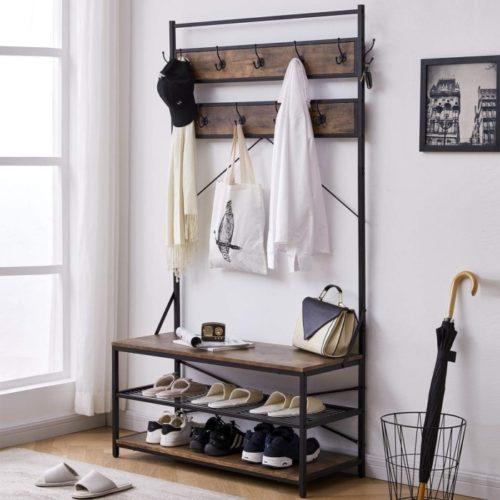 11. Oiahomy Hall Tree Coat Rack with Shelf and Metal Frame