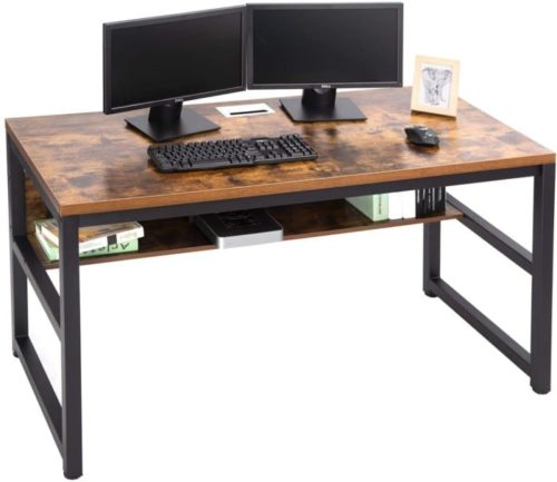 12. TOPSKY Metal Grommet Hole Cable PC Desk with Bookshelf
