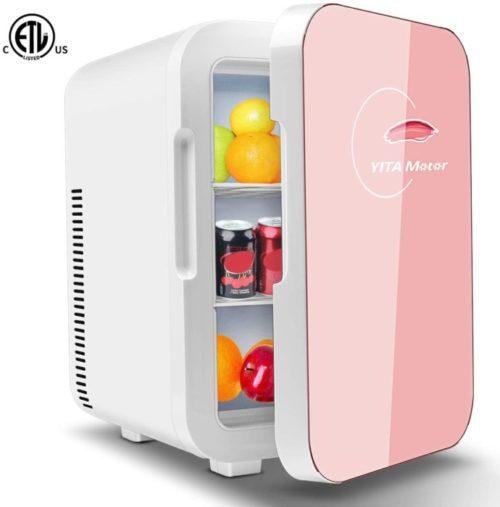 11. Yitamotor Portable Mini Fridge with 10 Lit Compat - Pink Mini Fridge