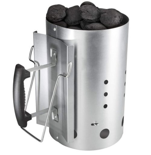 Broilmann Chimney Charcoal Lighter - Weber Chimney Starter with Heat Resistant Glove and Tong