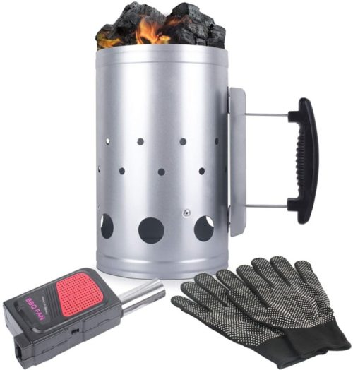 Eau Quick Chimney Charcoal Lighter with Set Fireplace Accessory - Grill Lighter