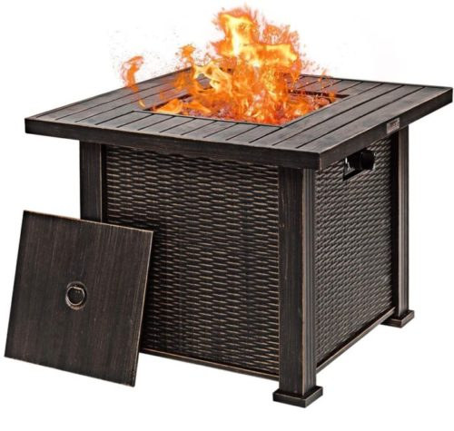 13. Giantex Square Fire Pit with 50,000BTU Propane Fire Pit with Lid and Rock