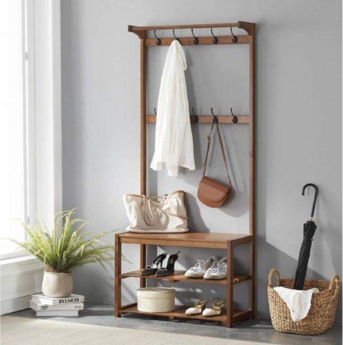 13. Seirione Bamboo Coat Rack with Shelf
