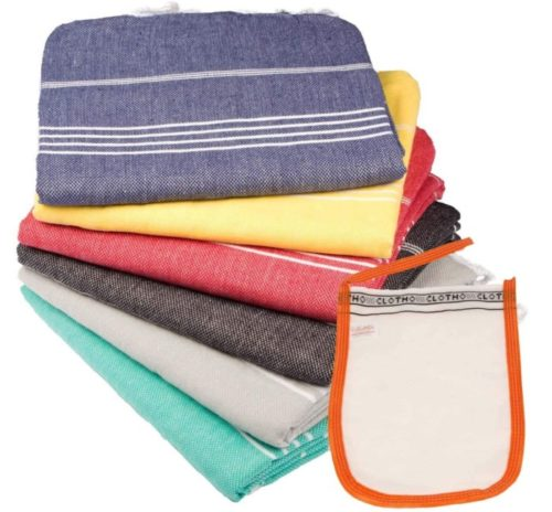 14. Clotho Turkish Bath Towels Set with 100% Cotton Sand Free and Quick Dry Towels