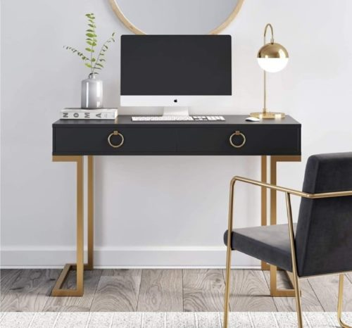15. Nathan James Leighton Wood and Metal Modern Computer Desk - Home Office Desk with Two Drawer