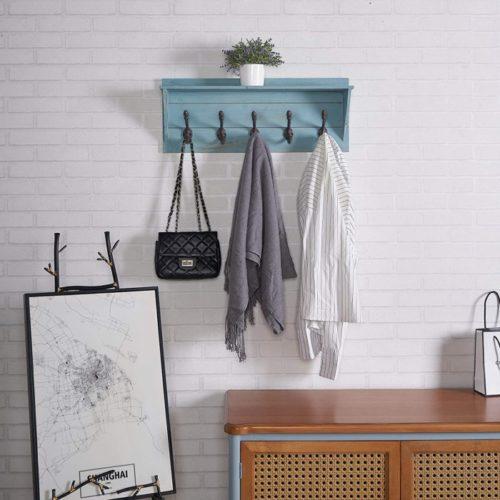 14. RiteSune Wooden Decorative Coat Racks with Shelf
