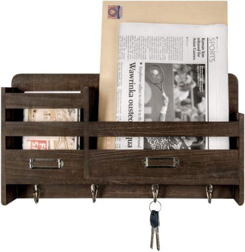 15. Mkono Wooden Wall Mount Coat Rack with Shelf