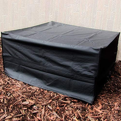 15. Sunnydaze Durable Polyester Square Fire Pit Cover with Drawstring and Toggle