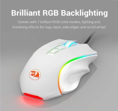 2. Redragon White Gaming Mouse with RGB Backlit