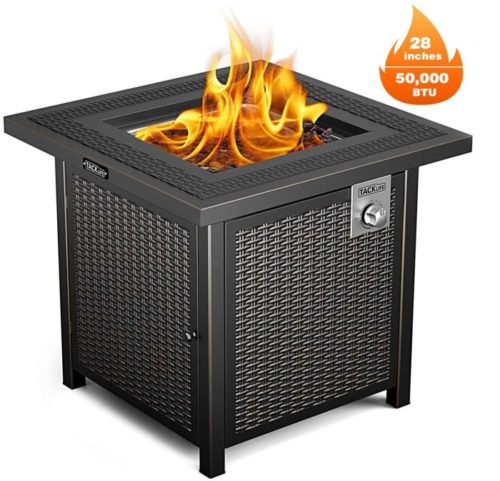 2. TACKLIFE Propane Striped Steel Square Fire Pit Table with Cover