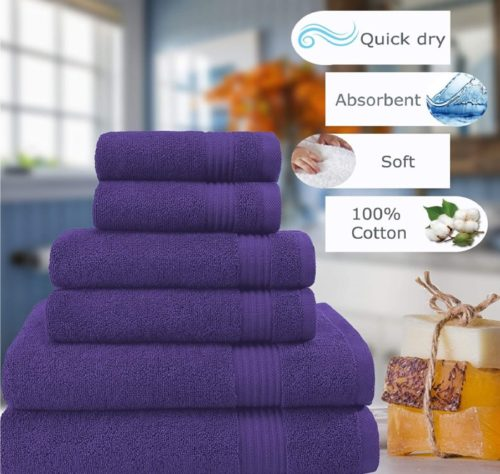 3. Cotton Paradise 100% Cotton Turkish Bath Towels Set with Soft and Quick Dry Towels