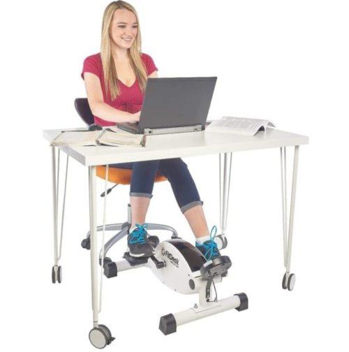 5. FitDesk White Under Desk Bike with Smooth Magnetic Exercise Peddler - Portable Mini Exercise Bike